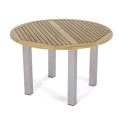 Teak Wood and Stainless Steel Outdoor Round Table