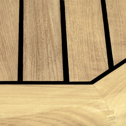 Large Teak and Stainless Steel rond Table