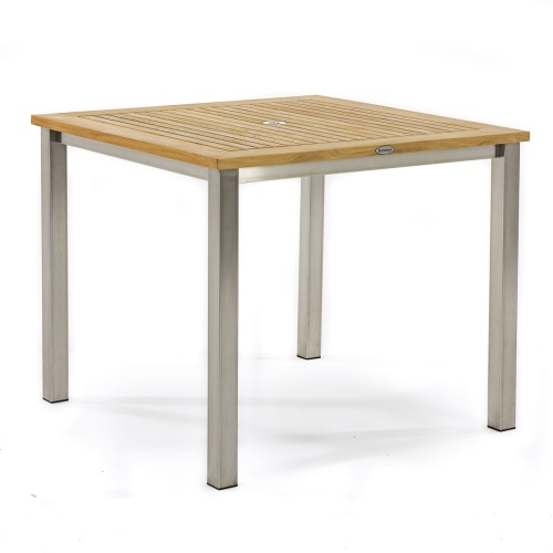 square outdoor bistro table teak and stainless steel