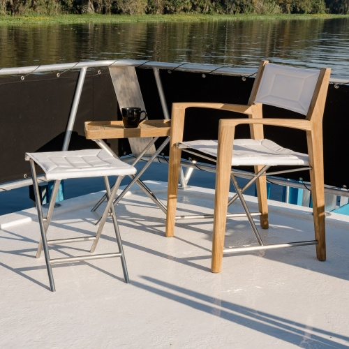 folding teak and stainless steel patio set