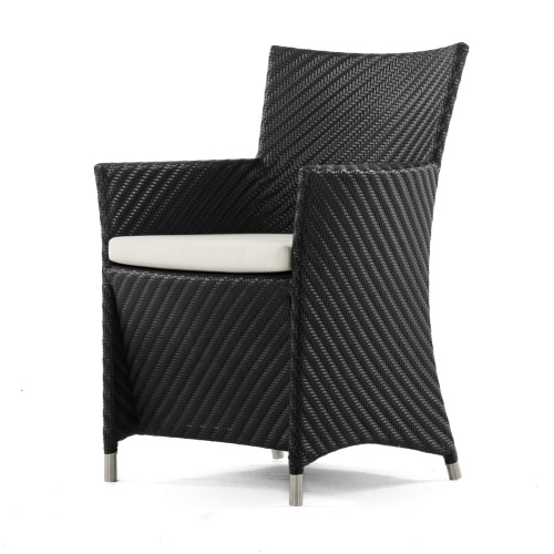 Wicker and Stainless Dining Chair