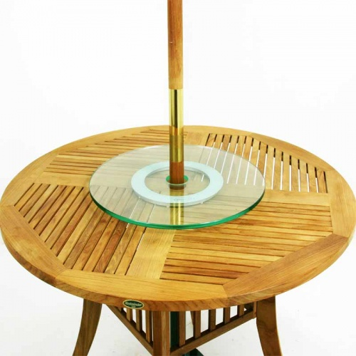 glass lazy susan with umbrella hole