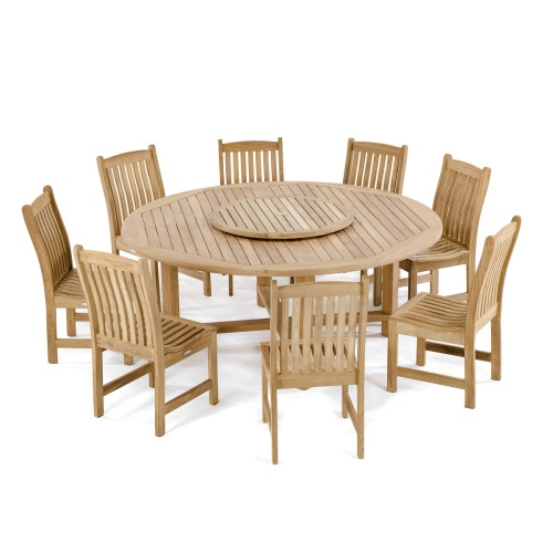 round outdoor dining set with umbrella