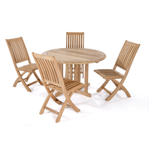 Barbuda 5pc Teakwood Round Dining Set