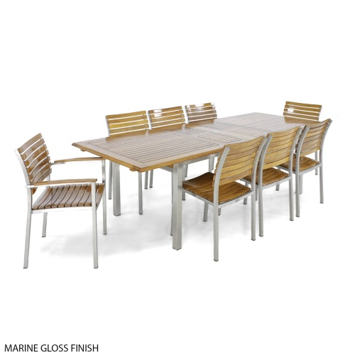 large teakwood stainless steel dining set