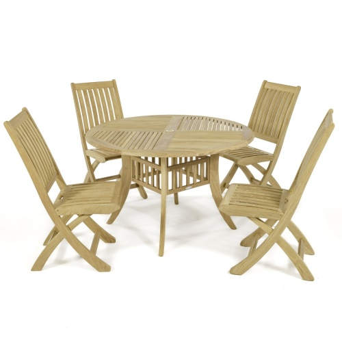 teak table round dining set