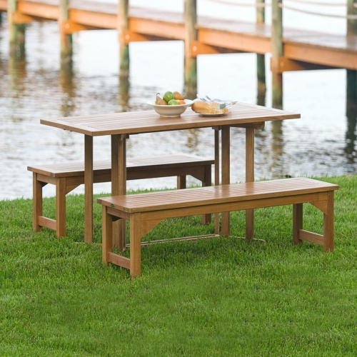 Wood foldable picnic table set