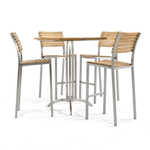 wooden bar stainless stool set
