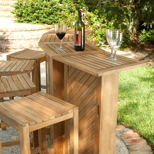 bar height outdoor teak furniture