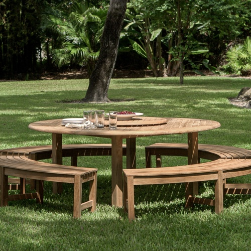 backless outdoor teak round bench set
