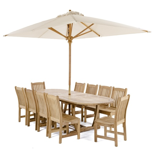 Patio Teak Umbrella Set