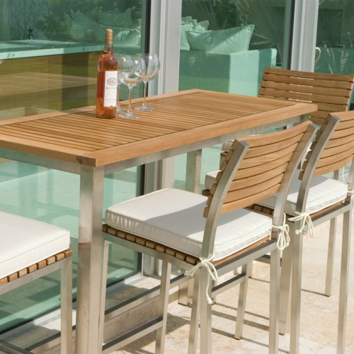 teak and stianless steel outdoor furniture