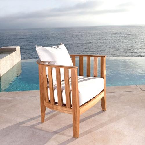 round teak ottomans