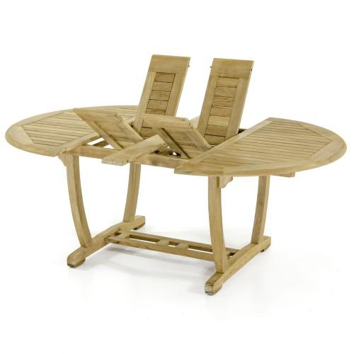 teak oval extension leaf table