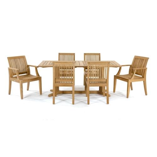 teak 6 seater rectangular table set