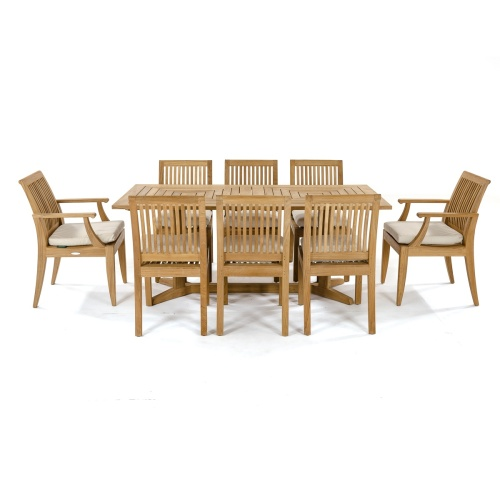 wood dining set for 8