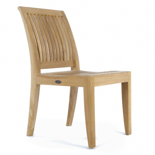 arched back teak side chair