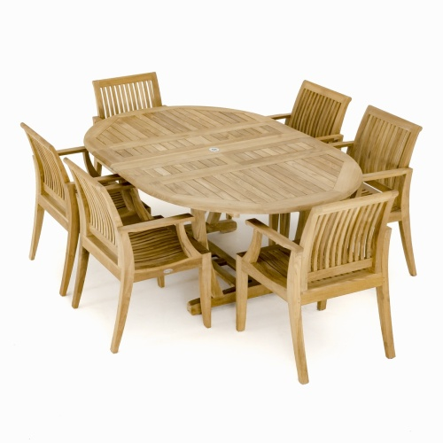 Premium Teak Oval Table Set for 6