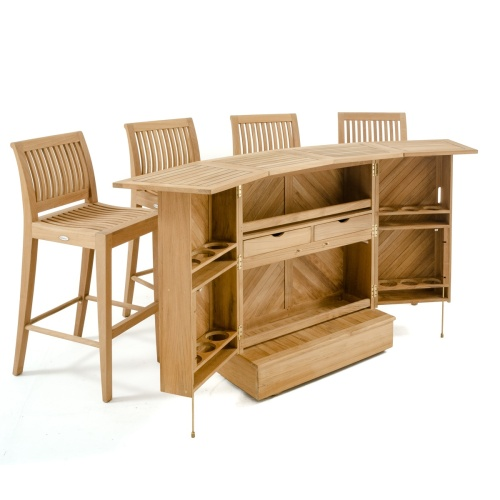 signature 5 piece bar set teak