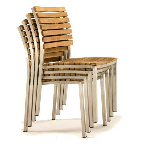 stacking teak and stainless side chair