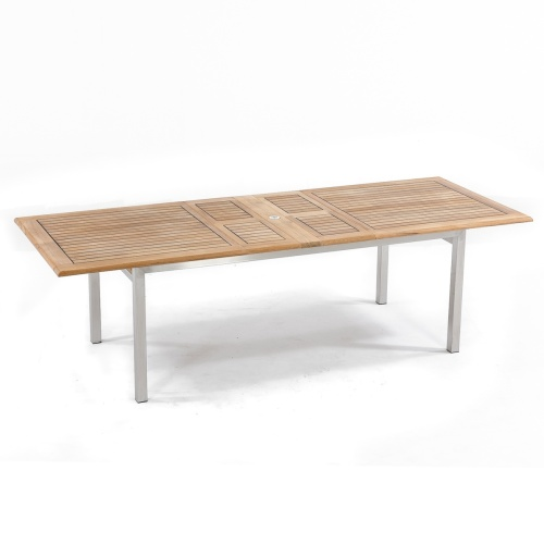 teak and stainless steel table extendable