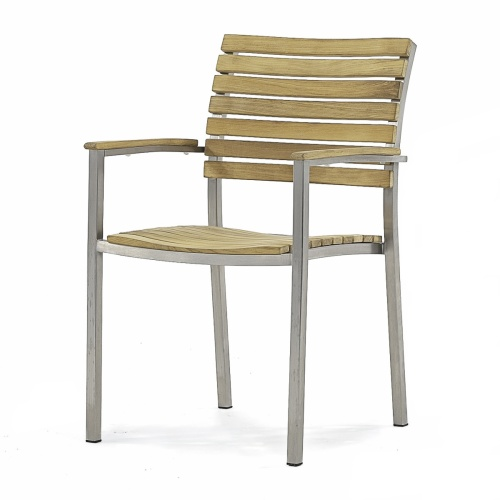 stacking wood and metal dining chairs