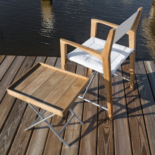 stainless and teak folding deck set