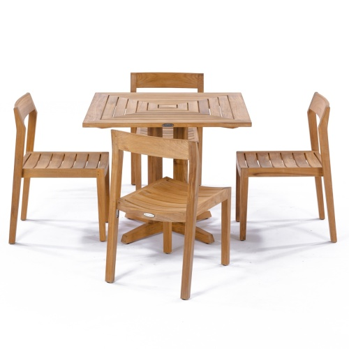 4 chair square folding teak table