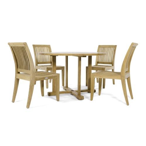 teak round patio dining for 4