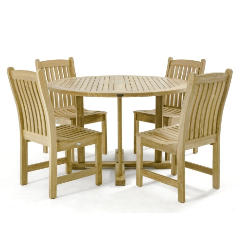 outdoor teak 5 piece dining set