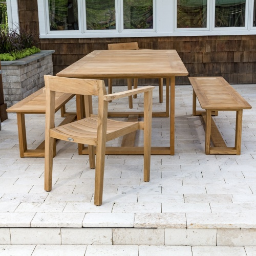 teak table chair and bench set