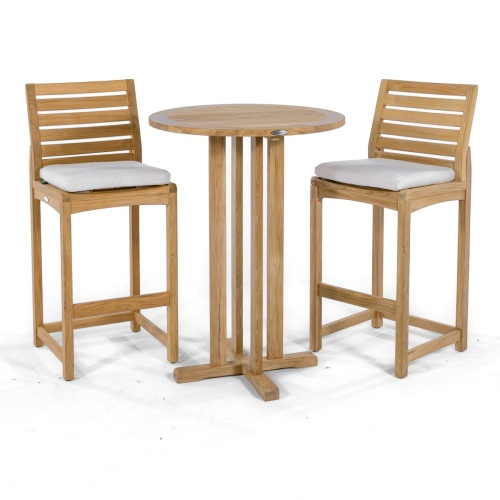 outdoor teak high bar tables and stools