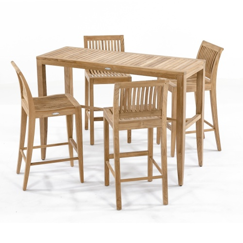 grade a teak outdoor patio 4 piece bar set