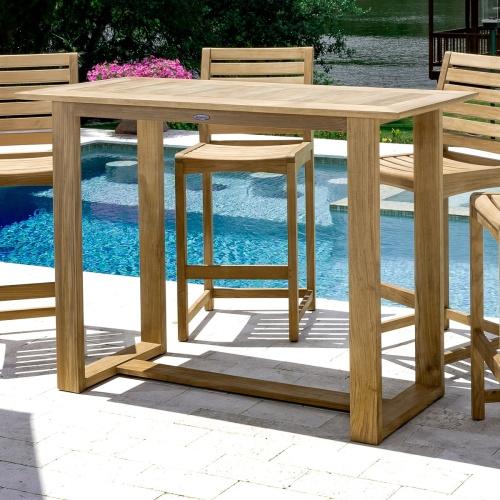 teak 5 pc patio bar set outdoor