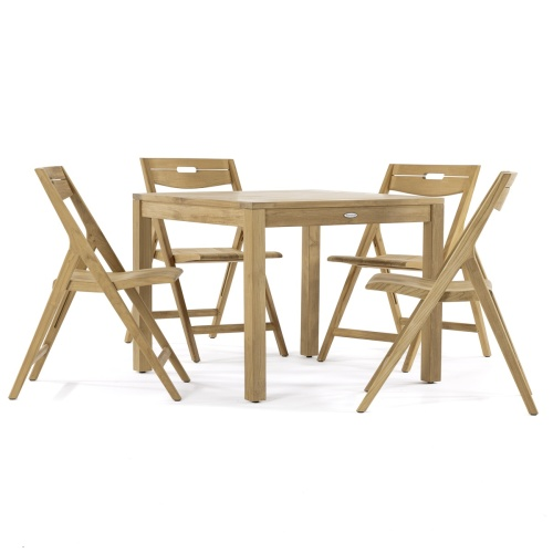 wood outdoor contemporary square bistro set