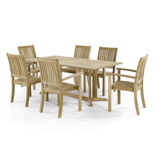 rectangular teak dining table and chairs set