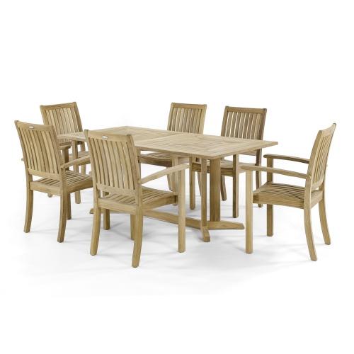 7 piece teak rectangular patio dining furniture set