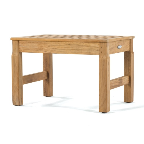 teak cafe table and backless benches
