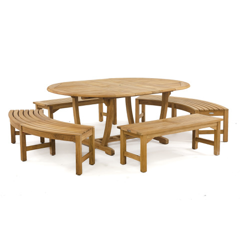 Martinique 5pc Oval Bench Set