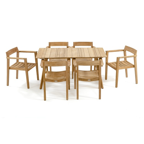 rectangular teak table set for 6