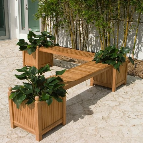 teak privacy planter boxes