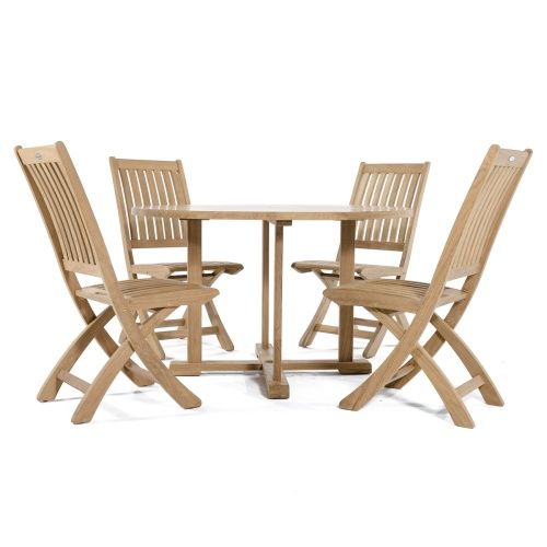 small round teak table Set for boating