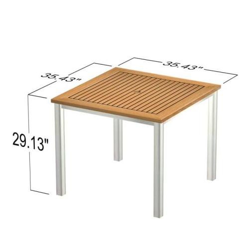 teakwood stainless steel square garden table