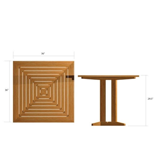 pyramid teak dining table square