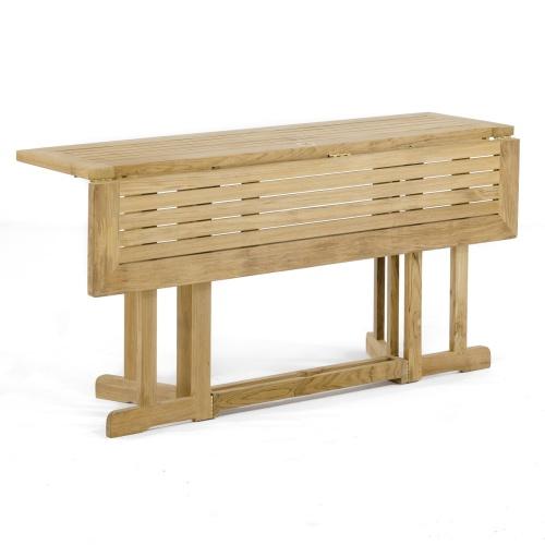 rectangular teakwood marine table