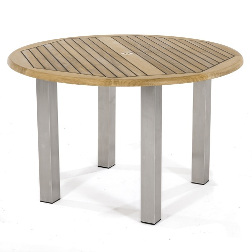 teak stainless steel outdoor round table