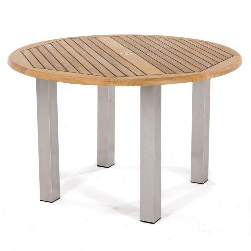 round teakwood and metal deck table