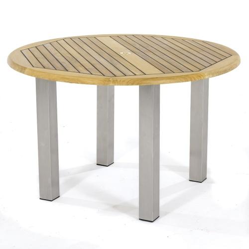 bistro table teak stainless steel