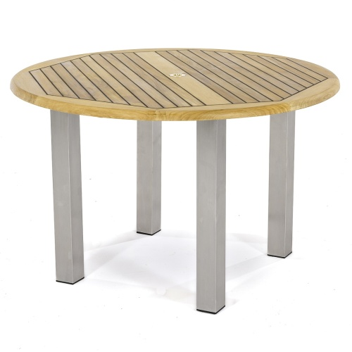 teak round dining table with stainless steel legs