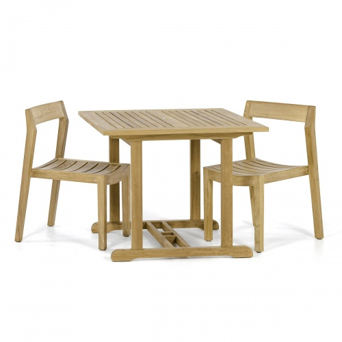 solid teak 3 piece square bistro set